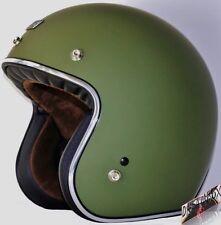 Casco Custom Verde Militare ORIGINE PRIMO Jet Bandit Opaco Moto Vintage Harley