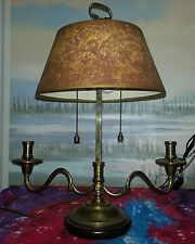 Vintage lamp with candle holders and a brown, yellow, & purple shade