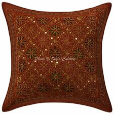 Indian Zari Embroidered Cotton Throw Cushion Cover Floral Sofa Pillowcase Boho