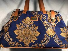 JM New York Tapestry Brocade Luggage - Blue Gold Carry on Duffel Overnight Bag