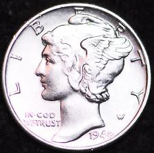 1940-P Au Mercury Dime / Philadelphia Mint Almost Uncirculated 90% Silver Coin