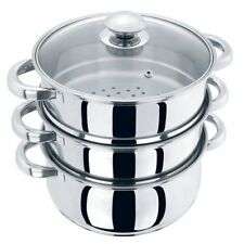 Prima 3 Piece Stainless Steel 3 Tier Steamer Saucepan Set, - Electric & Solid