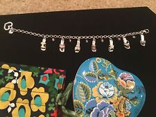 """BRIGHTON Colored Sandals~Charm Bracelet~Retired ~ 7.5 to 8.5"""" ~ With Tin/bag"""