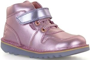 KICKERS GLOW GIRL BABY INFANT JUNIOR CHILDRENS LIGHT UP LACE ZIP LEATHER BOOTS