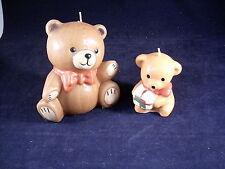 (2) UNUSED CHRISTMAS HOLIDAY WAX CANDLE TEDDY BEARS