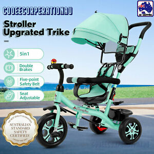 5 In 1 Kids Tricycle Toddler Pram Stroller Reverse Trike 3 Wheel Ride On Toy TDA
