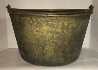 Large Antique Spun Brass Bucket Iron Bail 1850 Connecticut Rat Tail Handle