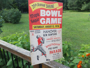 1978 Vintage Maple Sugar Bowl Game High School Football Game Poster Hanover NH