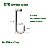 100lot high quality 32755 Black Aberdeen 90 Degree Jig Hooks round bent hook