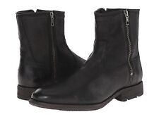 $378 Mens FRYE Ethan Double Zip Black Leather Ankle Boot Sz 9