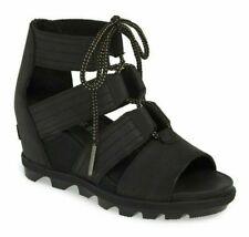 Sorel Joanie II Lace Women's Leather Open Toe Wedge Heel Sandals Black Size 7.5