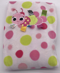 "Taggies Polka Dot Caterpillar Baby Blanket Green Pink 30x40"" Security Lovey F5"