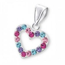 """Sterling silver multi coloured crystal heart pendant with 16 18 or 20"""" chain"""