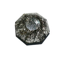 23.80Ct 100% NATURAL BRAZILIAN BLACK RUTILATED QUARTZ 22x22 MM OCTOGUN CUT STONE