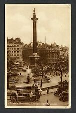 View of Buses Passing Nelson's Monument, Trafalgar Square, London. Stamp 1935