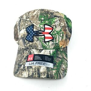 Under Armour Hunting Tree Camo Big USA Flag Logo Snap Back Cap Realtree Edge