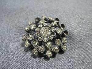 Antique Victorian druzy pyrite marquesite stones silvertone flower pin brooch