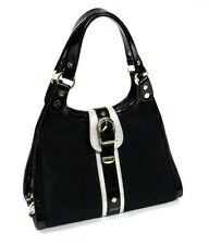 Versace Black Medusa Logo Jacquard Striped Medium Hobo Bag