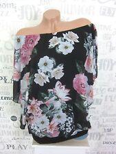 Chiffon blusa túnica Carmen camisa flores off shoulder 42 44 46 negros ef28