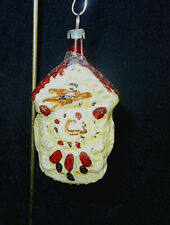 "Ant. German Gold Clock Mercury Glass Christmas Ornament~3"" H"