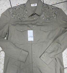 SAINT LAURENT STUD AND STAR EMBELLISHED SHIRT 16 (41) COLLARED RRP £1492