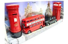 DIE CAST METAL LONDON BUS BLACK TAXI , PHONE & POST BOX SET OF 4 SOUVENIRS GIFT