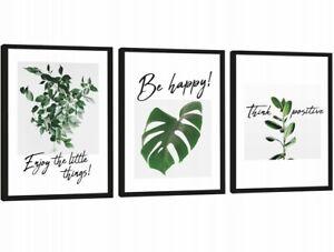 Set Of 3 Botanical Prints Leaf Palms Pictures Black Frame Framed Wall Be Happy