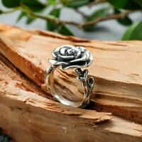 925 Sterling Silver Retro Rose Flower Ring Party Punk Vintage Gothic Birthday