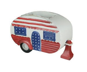 Red White and Blue Hand Painted Vintage Camper Planter