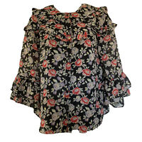 NWT Shoshanna Women's Floral Long Sleeve Ruffle Floral Button Front Blouse XS