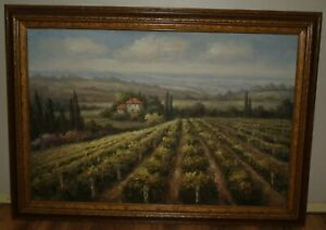 Oil Painting Vineyard Chateau