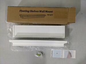 """2 x Floating Shelves Crown Molding Wall Mounted Mantle Shelf White 4 x 17 x 1.8"""""""