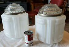 TWO STUNNING ART DECO PERIOD LARGE GLASS SHADES RECLAIMED FROM AN OLD CT BANK
