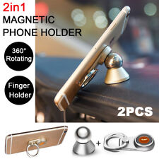 2X 2in1 Universal Finger Magnetic Phone Ring Car Holder Stand Mount Mobile GPS