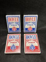 (4) Decks of Hoyle Poker Size Plastic Coated Nevada Playing Cards Blue & Red NEW