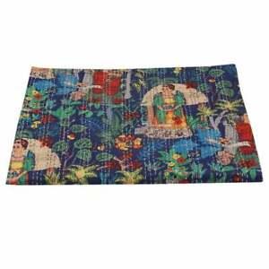 Indian Handmade Floral Fruit Cotton Kantha Quilt Throw Blanket Bedspread Vintage