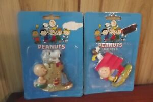 Peanuts Charlie Brown Snoopy Flambro Magnets 2 magnets dated 1997