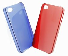 2x iPhone 4 / 4S Case Bumper in Rot & Blau Transparent Hülle Backcover