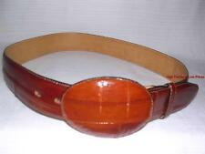 New VEARI Wide Brown Western Belt Removable Buckle Snap-on Leather Strap M sz 34