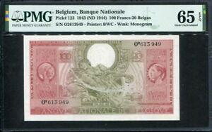 Belgium 1943 ( 1944 ), 100 Francs-20 Belgas,  P123, PMG 65 EPQ GEM UNC