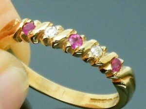 9ct Gold Ruby & Diamond Hallmarked Eternity ring size O