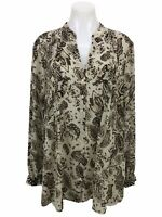 Knox Rose Paisley Floral Long Sleeve Button Down Blouse Top Women's Size XL