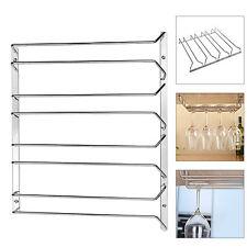 4 row Stemware Glasses Under Cabinet Shelf Wine Storage Rack Holder Hanger New
