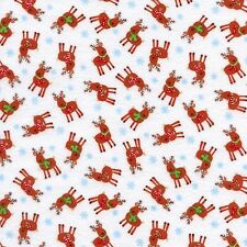 Christmas Reindeer Fabric 100% Cotton Fabric  Kids Timeless Treasures 1/2 Mtr