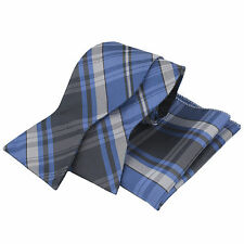 Mens Self Tie Bow tie And Hanky Matching Set Blue Black Silver Tartan  B062