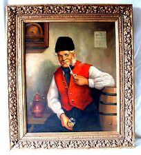Bauer / Fischer beim Wein  Öl auf Leinwand wie Gdanietz  goldener Prunkrahmen