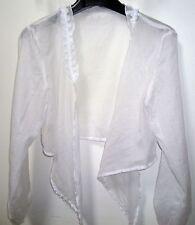 Cache-coeur boléro en voile de coton blanc. Taille 40