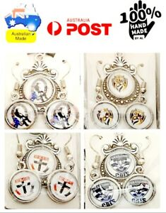 AUSSIE RULES FOOTBALL AFL AFLW 2 PIECES EARRINGS+NECKLACE 🇦🇺MADE IN AUSTRALIA