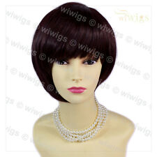 Wiwigs Asymmetric Short Brown & Burgundy Bob Skin Top Ladies Wig