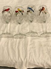 American Birds Wine Glass Set/4  Cardinal/Oriole/Blue Jay/? Gold Rim
